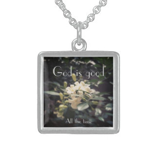 God is good. All the time Square Pendant Necklace
