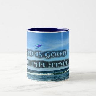 God Is Good All The Time Two-Tone Coffee Mug