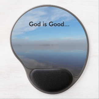 God is good, beautiful lake view gel mouse pad