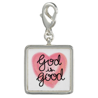 God is Good Hand Lettered Pink Watercolor Heart