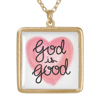 God is Good Hand Lettered Pink Watercolor Heart Gold Plated Necklace