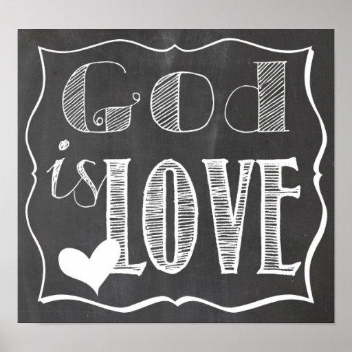 God is Love Chalk Board Poster