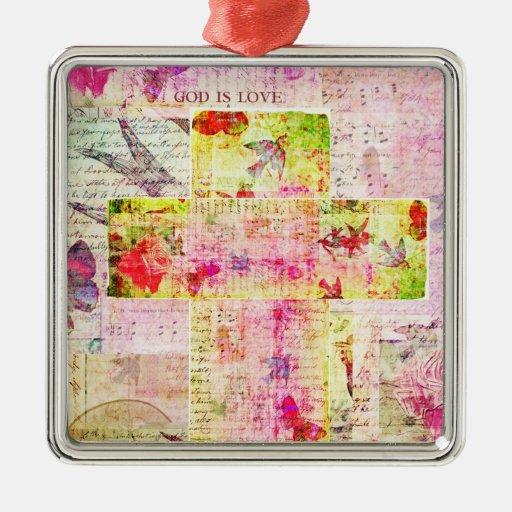 GOD IS LOVE contemporary Christian art Christmas Tree Ornament
