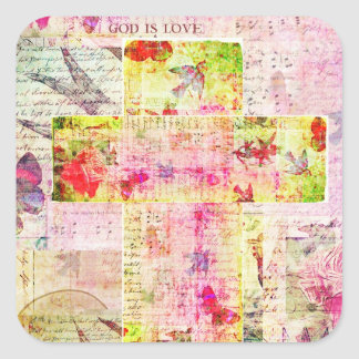 GOD IS LOVE contemporary Christian art Square Sticker