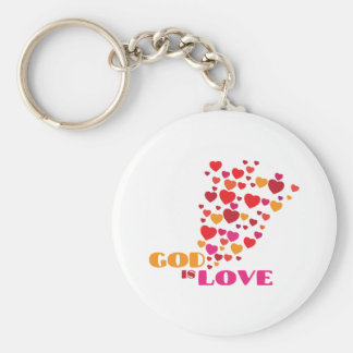 GOD is Love Basic Round Button Key Ring
