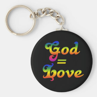 God is love not hate basic round button key ring