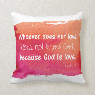 God is Love Watercolor Paint Bible Verse Cushion