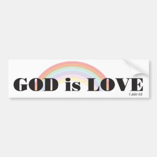 God is love with rainbow bumper sticker