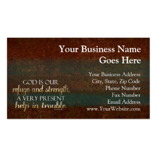 God is our Refuge Christian Bible Verse Brown/Gold Business Card Templates