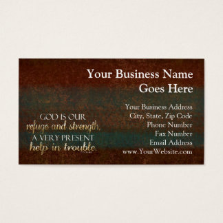 God is our Refuge Christian Bible Verse Brown/Gold Business Card