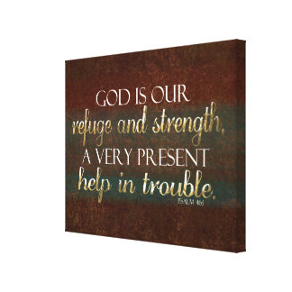 God is our Refuge Christian Bible Verse Brown/Gold Canvas Print