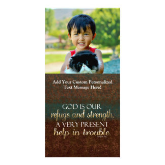 God is our Refuge Christian Bible Verse Brown/Gold Customised Photo Card