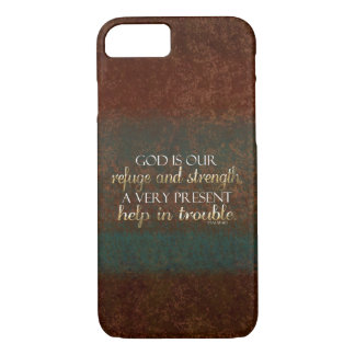 God is our Refuge Christian Bible Verse Brown/Gold iPhone 7 Case