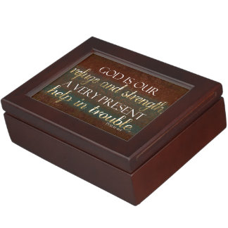 God is our Refuge Christian Bible Verse Brown/Gold Keepsake Boxes