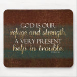 God is our Refuge Christian Bible Verse Brown/Gold Mouse Pad