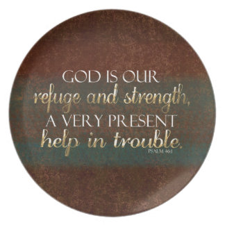 God is our Refuge Christian Bible Verse Brown/Gold Party Plates