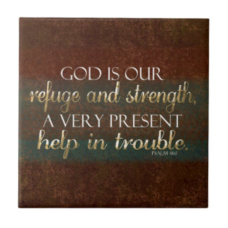God is our Refuge Christian Bible Verse Brown/Gold Small Square Tile