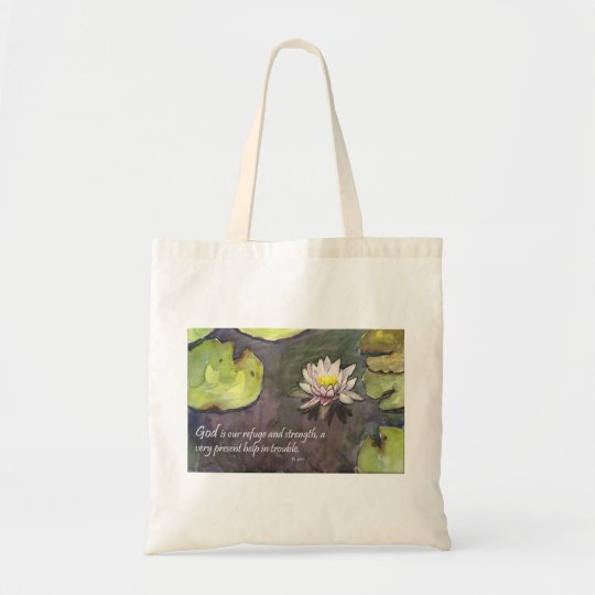 God is our Strength Scripture Tote Bag