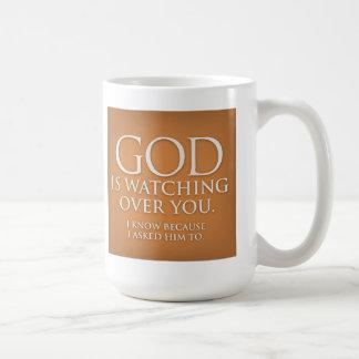 God is Watching Over You. Gold mug. Basic White Mug