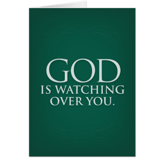 God is Watching Over You. Green greeting card. Greeting Card