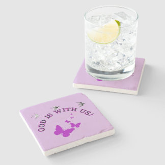 God Is With Us Surrounded By Birds And Butterflies Stone Coaster