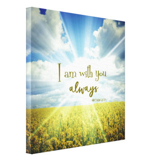God is with you Always Bible Verse Typography Canvas Print