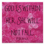 God is within her bible verse Psalm 46:5 Poster