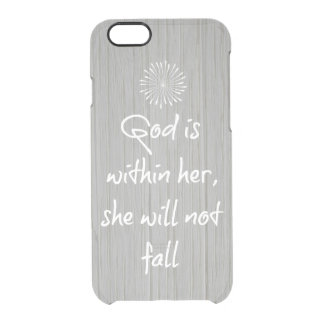 God is Within Her, She Will Not Fall Bible Verse Clear iPhone 6/6S Case