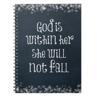 God is Within Her, She Will Not Fall Bible Verse Notebook