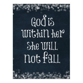 God is Within Her, She Will Not Fall Bible Verse Postcard
