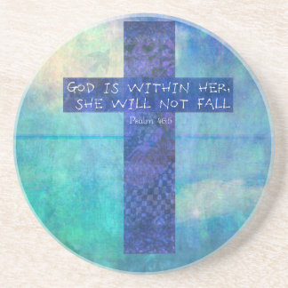 God is within her uplifting Bible verse Psalm 46:5 Beverage Coaster