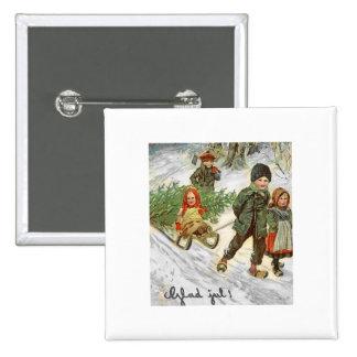 God Jul Children in the Snow 15 Cm Square Badge