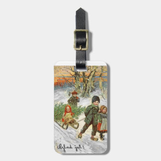 God Jul Children in the Snow Bag Tags