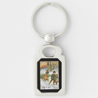 God Jul Children in the Snow Silver-Colored Rectangle Key Ring