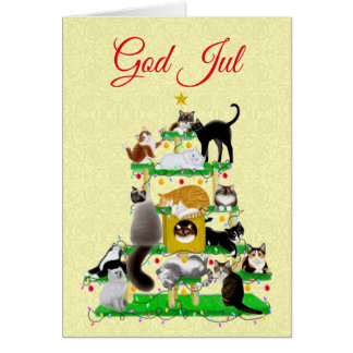 God Jul Merry Christmas Cat Tree Greeting Card