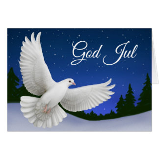 God Jul Merry Christmas Dove Greeting Card