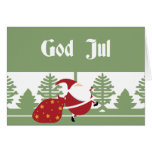 God Jul Santa Greeting Card
