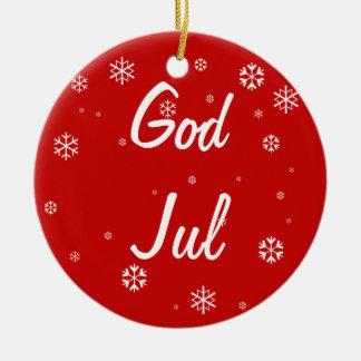 God Jul Snowflakes Christmas Ornament