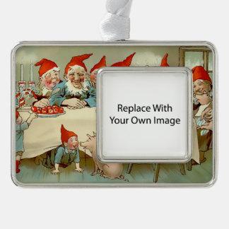 God Jul - Swedish Photo Ornament Frame Silver Plated Framed Ornament