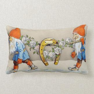 God Jul With Good Luck Horseshoe - Lumbar Pillow
