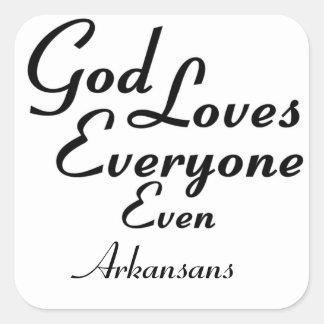 God Loves Arkansans Square Sticker