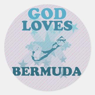 God Loves Bermuda Round Stickers