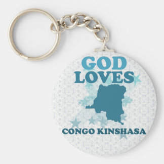 God Loves Congo Kinshasa Basic Round Button Key Ring