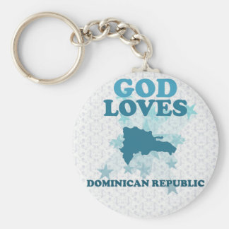 God Loves Dominican Republic Basic Round Button Key Ring