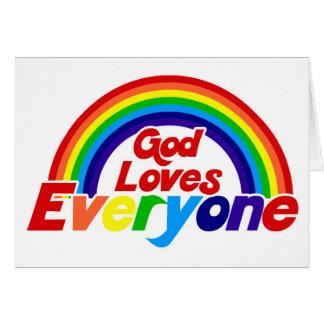 God Loves Everyone Gay Rainbow Greeting Cards