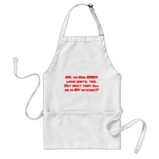 God loves idiots apron