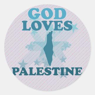 God Loves Palestine Round Sticker