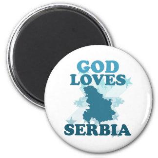 God Loves Serbia 6 Cm Round Magnet