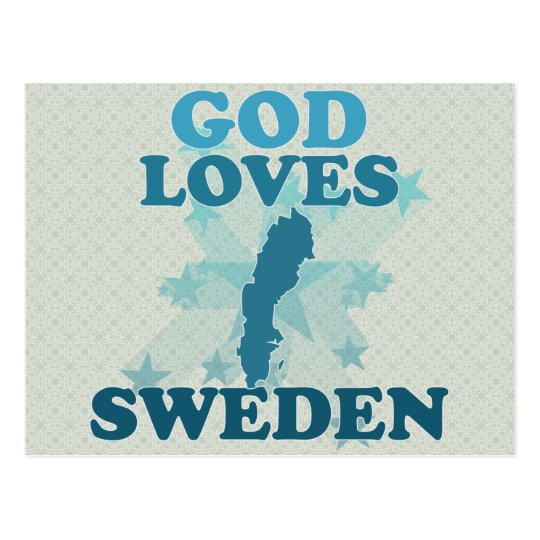 God Loves Sweden Postcard