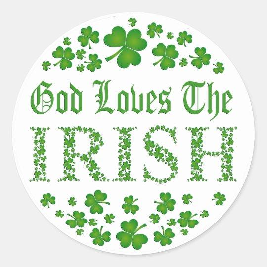 GOD LOVES THE IRISH CLASSIC ROUND STICKER